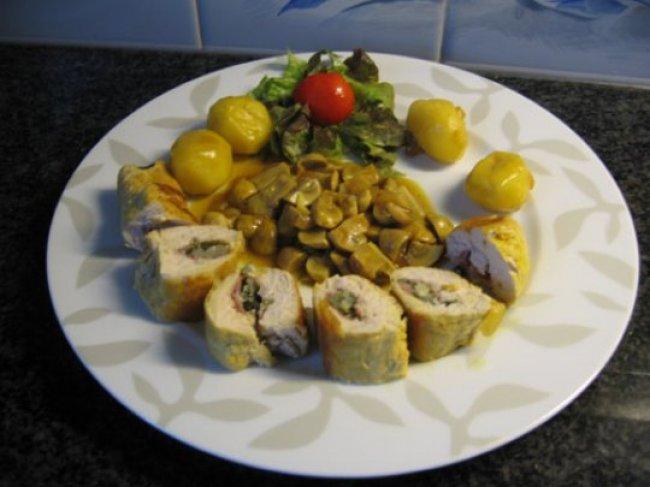 Gevulde kalkoenfilets met champignons 1