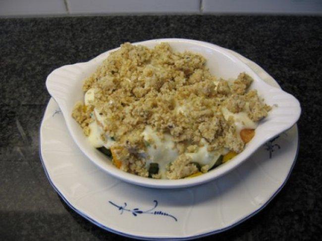 Hartige kruimels met vis, broccoli en kruidenkaas 1
