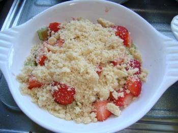 Aardbei en rabarber crumble met ijs 4