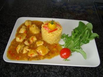 Kippenragout met risotto, rode en gele paprika 2