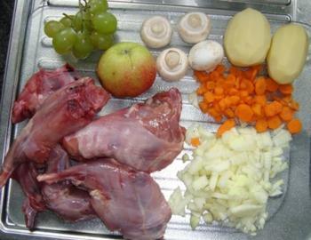 Stoofpotje van wild konijn, groenten en fruit 2