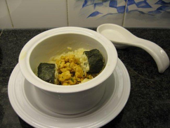 Risotto met kalkoenstoofvlees en sushi nori 1
