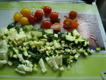 Deegwaren met tijgergarnalen, chorizo en mediterrane groenten 2