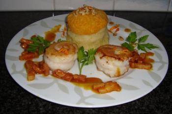 Knolselder en wortelpuree met tongrolletjes en spekjes 2