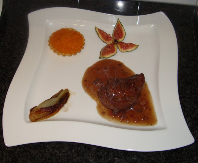Fazant met vijg, witloof en taartje met zoete aardappel 1