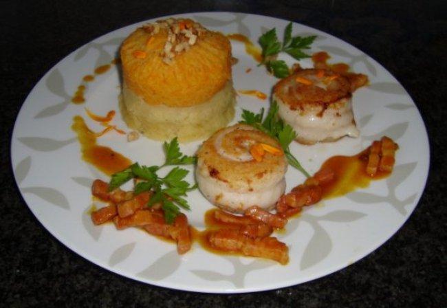 Knolselder en wortelpuree met tongrolletjes en spekjes 1