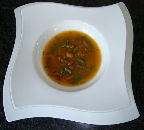 Soep met Borlotti bonen en fijne prinsesboontjes 1
