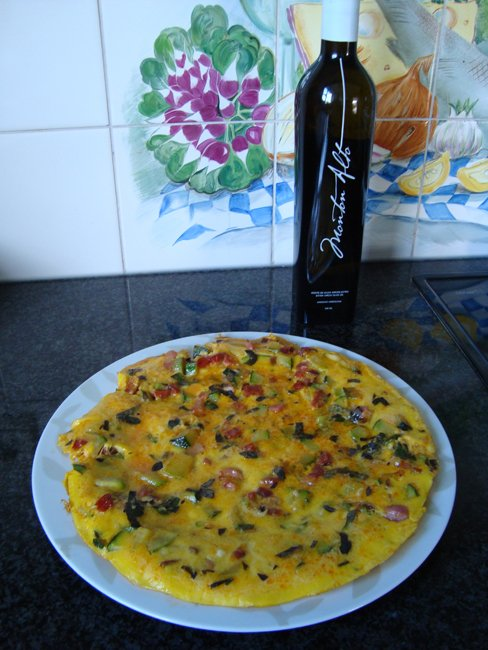 Frittata met courgette, spekblokjes en chorizo 1