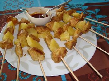 Gemarineerd spiesje van kip en ananas 5