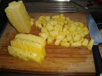 Kalfslever met ananas en risoto. Aziatisch gerecht 4
