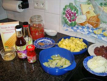Kalfslever met ananas en risoto. Aziatisch gerecht 6