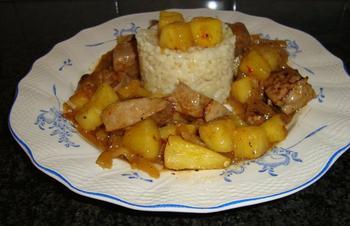 Kalfslever met ananas en risoto. Aziatisch gerecht 9