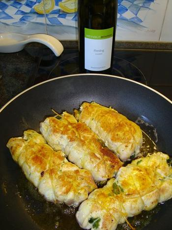 Kippenrolletjes met ham, sla, gehakt en venkelrisotto 6