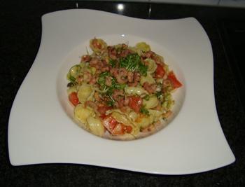 Pastasalade met garnalen, cresson en tomaat 5