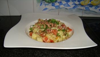 Pastasalade met garnalen, cresson en tomaat 6