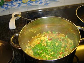 Risotto met omelet en garnalen 4