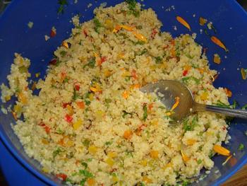 Scampi met couscous en zuiderse groentjes 4
