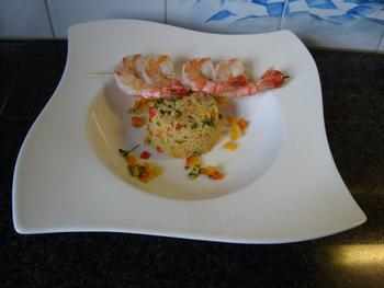 Scampi met couscous en zuiderse groentjes 9