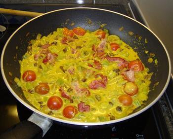 Spirelli met ontbijtspek, venkel en curry 8