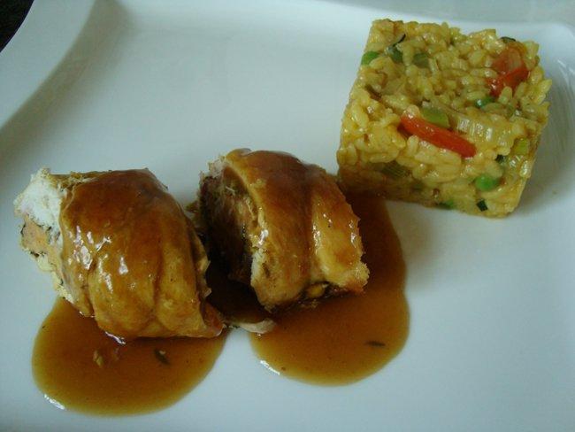 Kippenrolletjes met ham, sla, gehakt en venkelrisotto 1