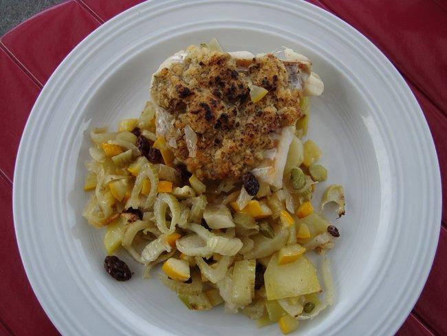 Ovenschotel van kabeljauwhaasje met crumble, venkel en aardappelen 1