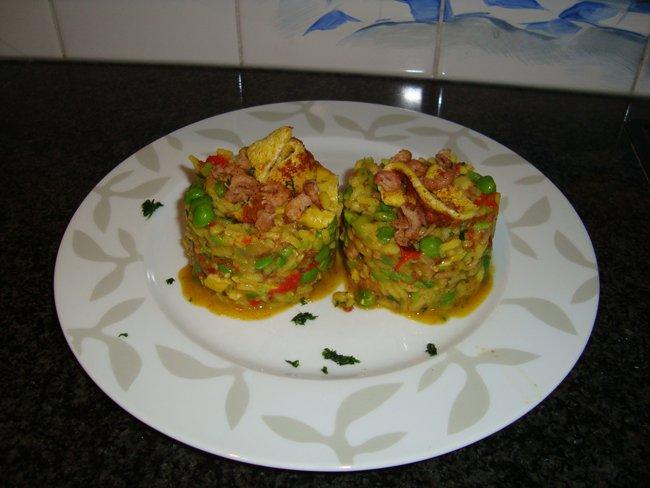 Risotto met omelet en garnalen 1
