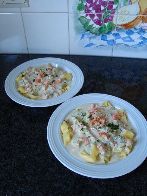 Tortelloni met kruidenkaas en rivierkreeftstaartjes 1
