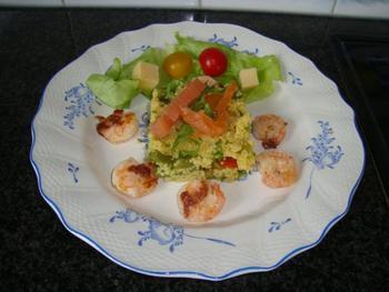 Couscous met grote garnalen en gerookte zalm 3