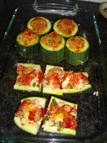 Gevulde courgette met kaas en zongedroogde tomaten 5