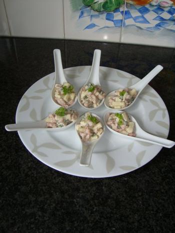 Lepelhapje met garnalen en appel 4