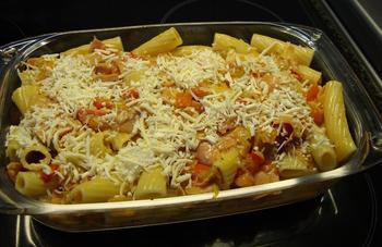 Pasta (tortiglioni) met paprika en mortadella 6