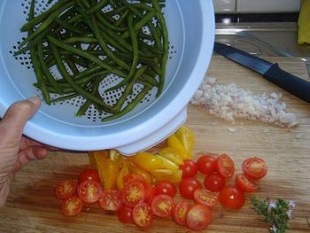 Prinsesboontjes met tomaat en gelakte varkenskotelet 4
