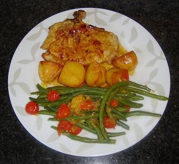 Prinsesboontjes met tomaat en gelakte varkenskotelet 9
