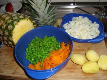 Stoofpotje van kalkoen, ananas, aardappen en groentjes 2