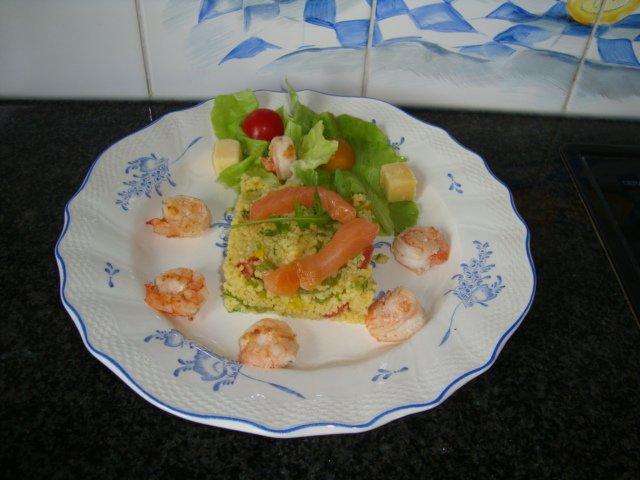 Couscous met grote garnalen en gerookte zalm 1