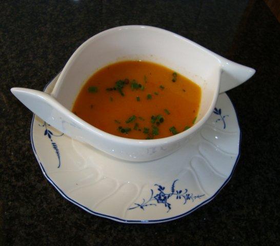 Paprikasoep met garnalen 1