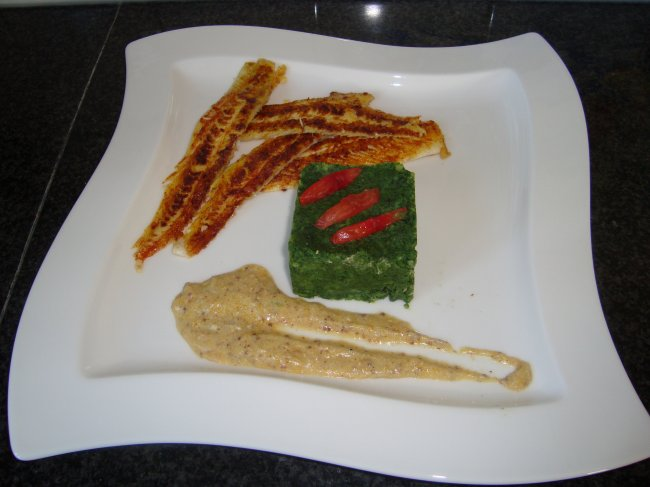 Zeetong met boerenkool (kale of krulkool) en mosterdsaus 1
