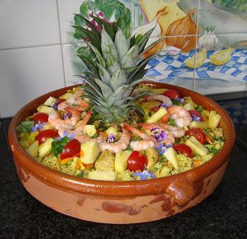 Koude Indische rijstschotel met kip en ananas 10