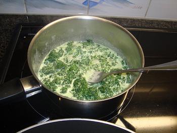 Pasta met spinazie en scampi 5