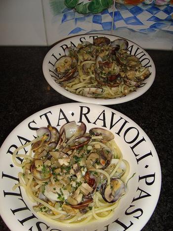 Pasta met tapijtschelpen en champignons 7