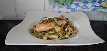 Zalmfilet met beukenzwammen en groene risotto 6