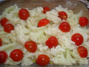 Bloemkool – aardappelgratin met kerstomaatjes 4