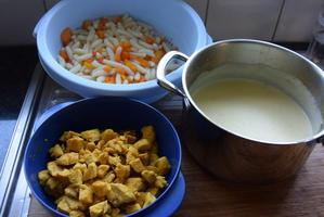 Kids favorites: ovenschotel van deegwaren, kip, wortelen en kaassaus 5