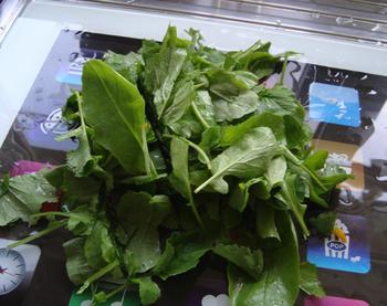 Pompoensoep met groene blaadjes van radijsjes in de thermomix 4
