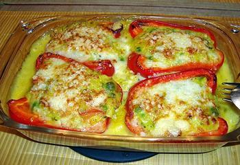 Vegetarisch, gevulde paprika 10