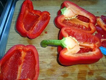 Vegetarisch, gevulde paprika 6