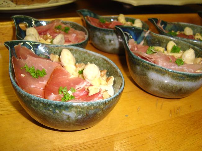 Bavarois van witte asperges met ham 1