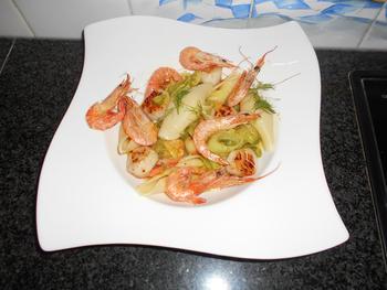 Conchiglioni of andere pasta met sint Jacobsschelpen en scampi 5