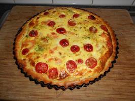 Quiche met boerenkool (kale), gerookte zalm en tomaatjes 10