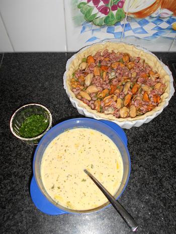 Quiche met mosselen, garnalen en prei 5